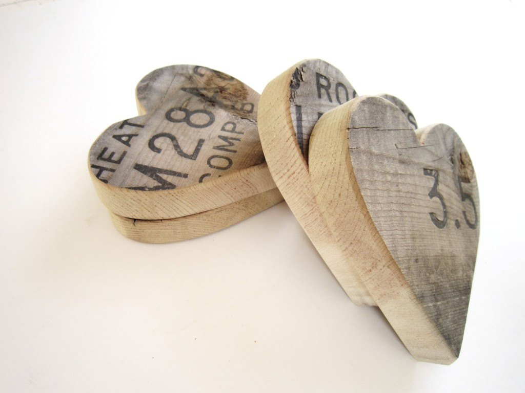 Fathers Day Gifts Wooden Heart Set Of 3 Recycled Reclaimed Wood